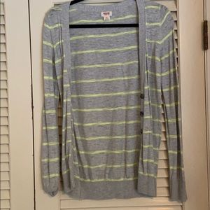 Mossimo button up cardigan grey yellow sz small